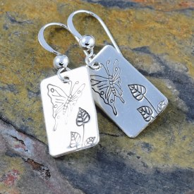 Butterfly Garden Leaves Earrings