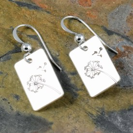 Dandelion Wish Rectangle Earrings