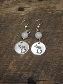 Sterling Silver Stamped Mit/Stone Earings