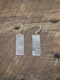 Sterling Silver Stamped Dragonfly Rectangle