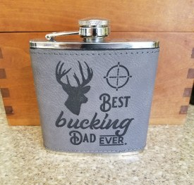 Flask Bucking Dad Gray Leather