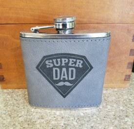 Flask Super Dad Gray Black