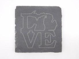 Slate Coaster Love Michigan Line