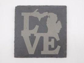 Slate Coaster Love Michigan Solid