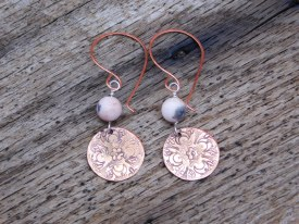Copper Mandala Pink/Gray Earrings