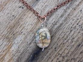 Cream Leather Necklace Copper Chain ColorStone