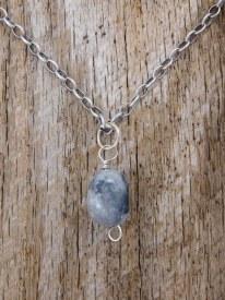 Gray Leather Chain Gray/Black Stone