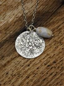 Mandala Necklace Gray/Tan Stone