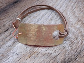 Hammered Brass Bracelet Brown Leather