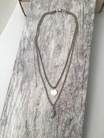 Double Plated Chain Necklace with Stone