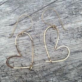 Heart Gold Wire Large Earrings