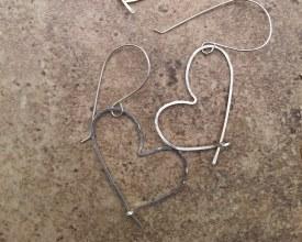 Heart Silver Wire Small Earrings