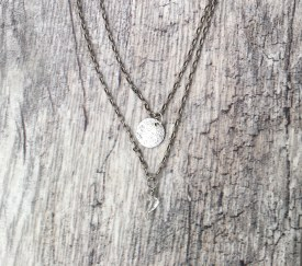 Double Chain Necklace with Crystal