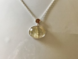 Oval Rutilated Quartz and Orange Tourmaline Pendant