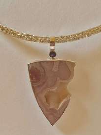 Trillion cut agate with crystals pendant set in sterling silver
