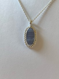 """Blue Lace Agate Bezel set pendant on 18"""" sterling silver cable chain with a lobster clasp"""