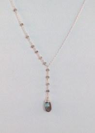 """Natural Labradorite Y necklace Sterling Silver 18"""""""