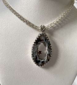 Geode Garnett Pendant On Sterling Viking Chain