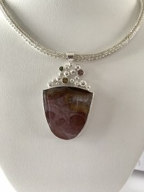 Shield Cut Agate Pendant - Sterling Silver Viking Knit Chain