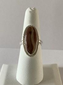 Oval Jasper Sterling Silver Ring Sz 7.5
