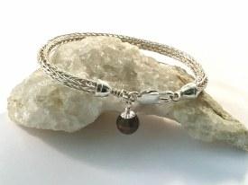 "Smokey Quartz Sterling Silver Viking Knitted Bracelet 7.5"""