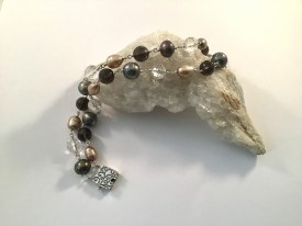 """Sterling Silver Two Wire Bracelet with Freshwater Pearl and Smokey Quartz 7.5"""""""