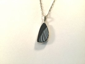 "Natural Tuxedo Agate Pendant on 18"" Silver oval cable chain"