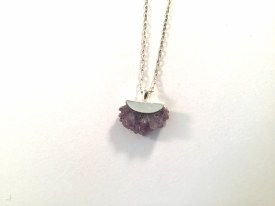 Natural Amethyst Crystals set in handmade sterling silver pendant