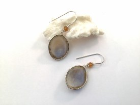 Geode Citrine Sterling Silver Earrings