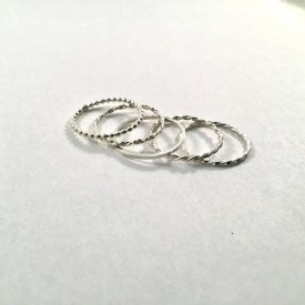 5 Band Sterling Silver Ring Sz 3