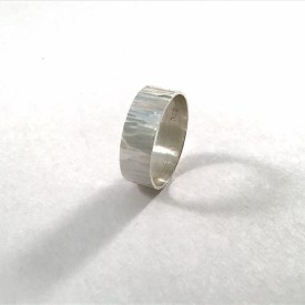 6mm Hammered Sterling Silver Ring Sz 3