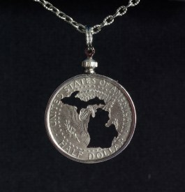Carved Coin Half Dollar Michigan Mitten Silhouette Necklace