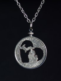 Carved Coin Michigan in my Heart Half Dollar Necklace