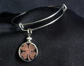 Carved Coin Charm Bracelet Lucky Penny Clover