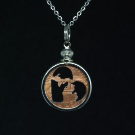 Carved Coin Michigan in my Heart Penny Necklace