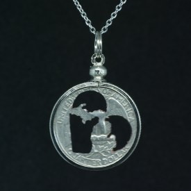 Carved Coin Michigan in Heart Quarter Necklace