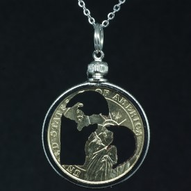 Carved Coin Michigan in my Heart Gold Dollar Necklace