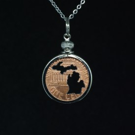 Carved Coin Penny Michigan Mitten Silhouette Necklace