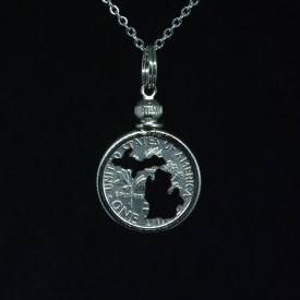 Carved Coin Dime Michigan Mitten Silhouette Necklace