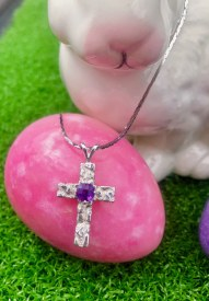 Amathest Cross Necklace