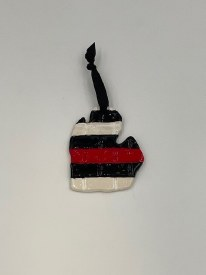 Ceramic Michigan Ornament with Red Band