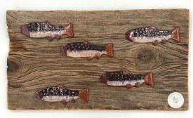 Ceramic Fish on Wood Wall Hanging