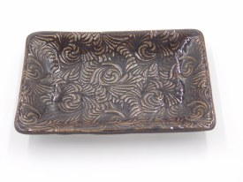 "Ceramic Dish 6""x4"" Dark Charcoal with Bronze accent"