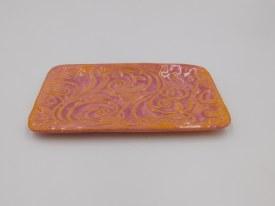 """Ceramic Dish 6.5""""x3.5"""" Peachy Orange with Rose accents"""
