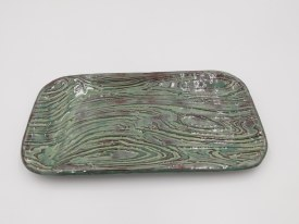 "Ceramic Tray 9"" x 5"" Sage Green with Brown accents"
