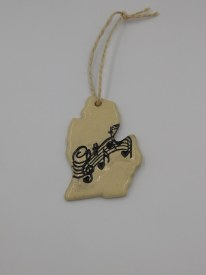 "Ceramic Ornament 2""x3"" MI w/ Musical Notes"