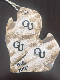 "Ceramic Ornament 3.5""x 3"" Oakland University"