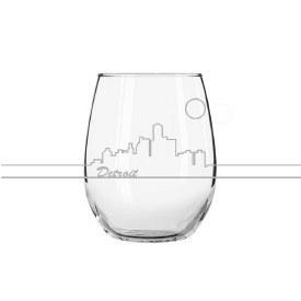 "Glass Wine ""Detroit"" Skyline"