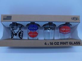 Glass, Pint - Detroit 4/set