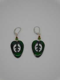 Copper Enamel Sterling Agate Green Leaves